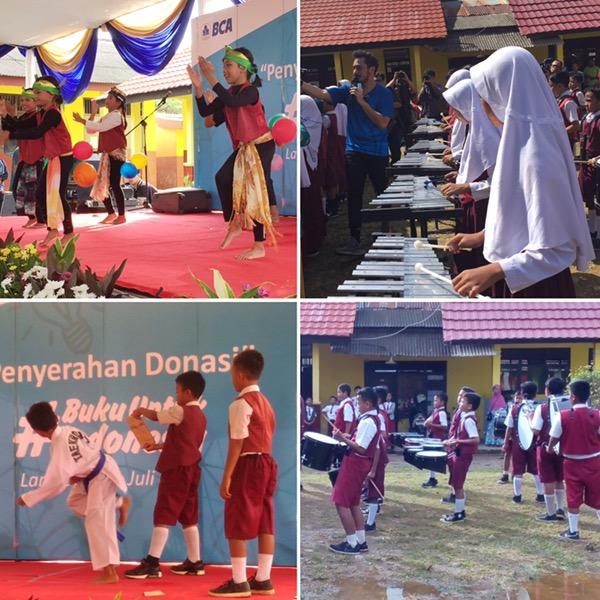 performance dari siswa-siswi SDN 7 Gadingrejo di acara pembagian donasi #BukuUntukIndonesia